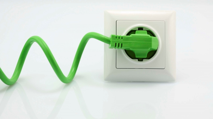 Green plugged-in cable