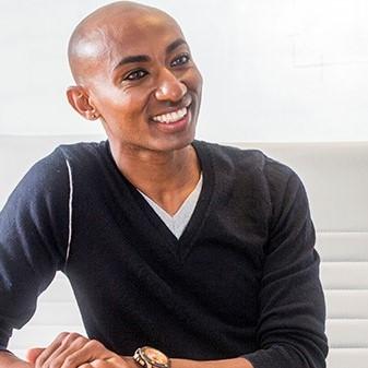 Man smiling in meeting