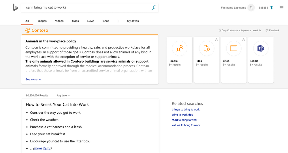Microsoft Search user interface example