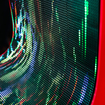 Brightly colored waves at the curved LED screen