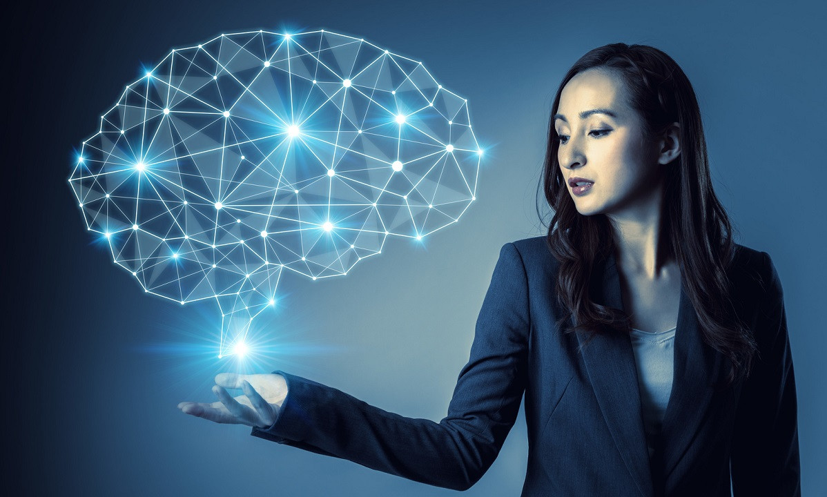 Bringing AI into the workforce - Woman showing AI thinking - by Accenture