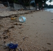 Plastic bottle and trash on beach