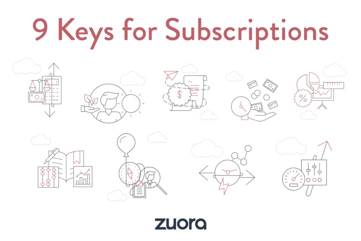Image shows Zuora's 9 Keys for Subscriptions which are described as Pricing & Packaging, Subscription Management, Rating & Billing, Payments & AR, Revenue Recognition, Accounting Close, Analytics & Reporting, Integrations, Extensibility.