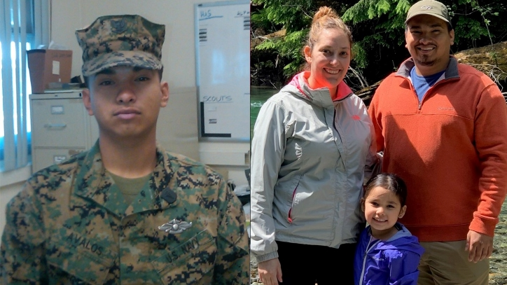 JR Avalos in the military and with family