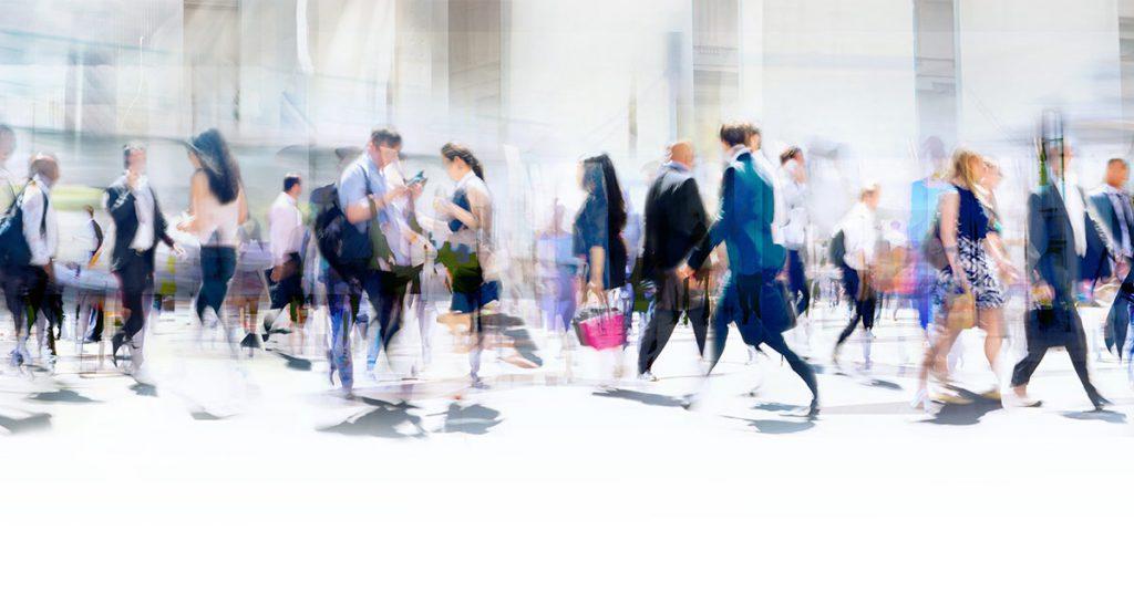 People walking fast